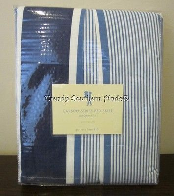 NIP Pottery Barn Kids Blue CARSON STRIPE Bed Skirt QUEEN