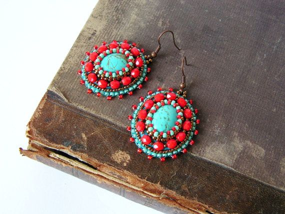 Bead embroidery Earrings Turquoise Red Earrings by MisPearlBerry