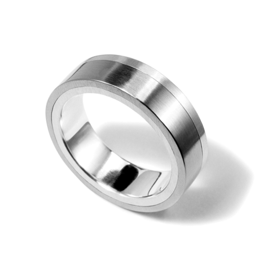 A gorgeous wedding band of stainless steel and platinum