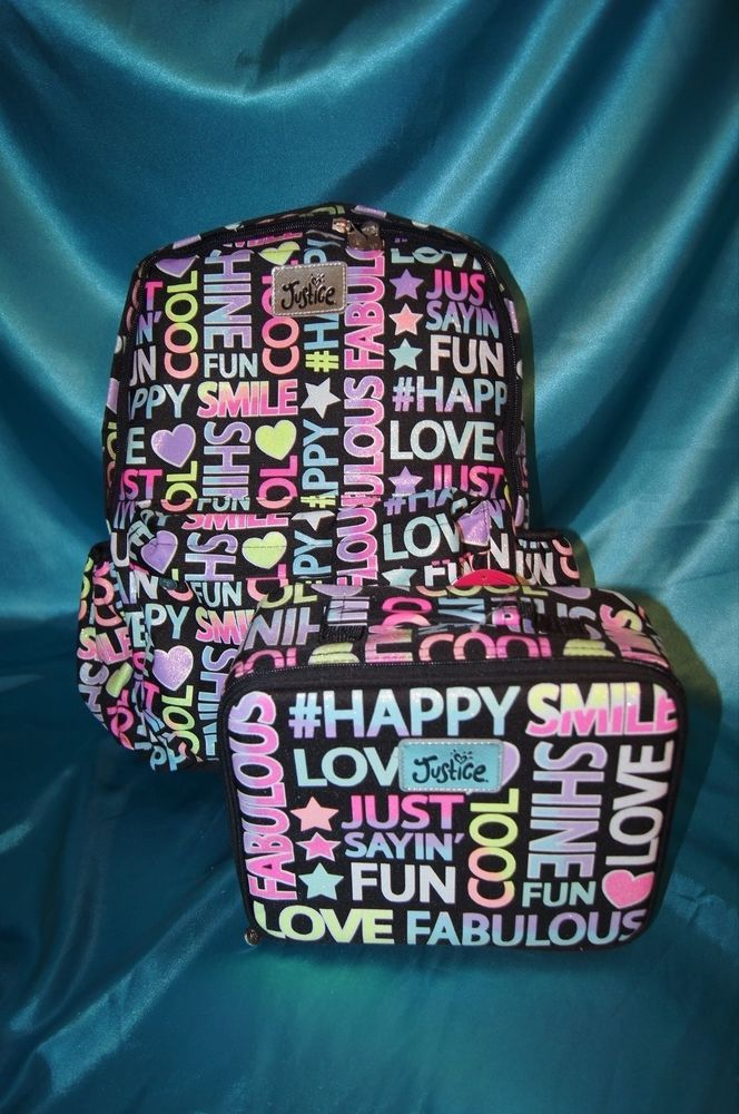 Nwt~justice girls school backpack lunch box set glitter multi ...