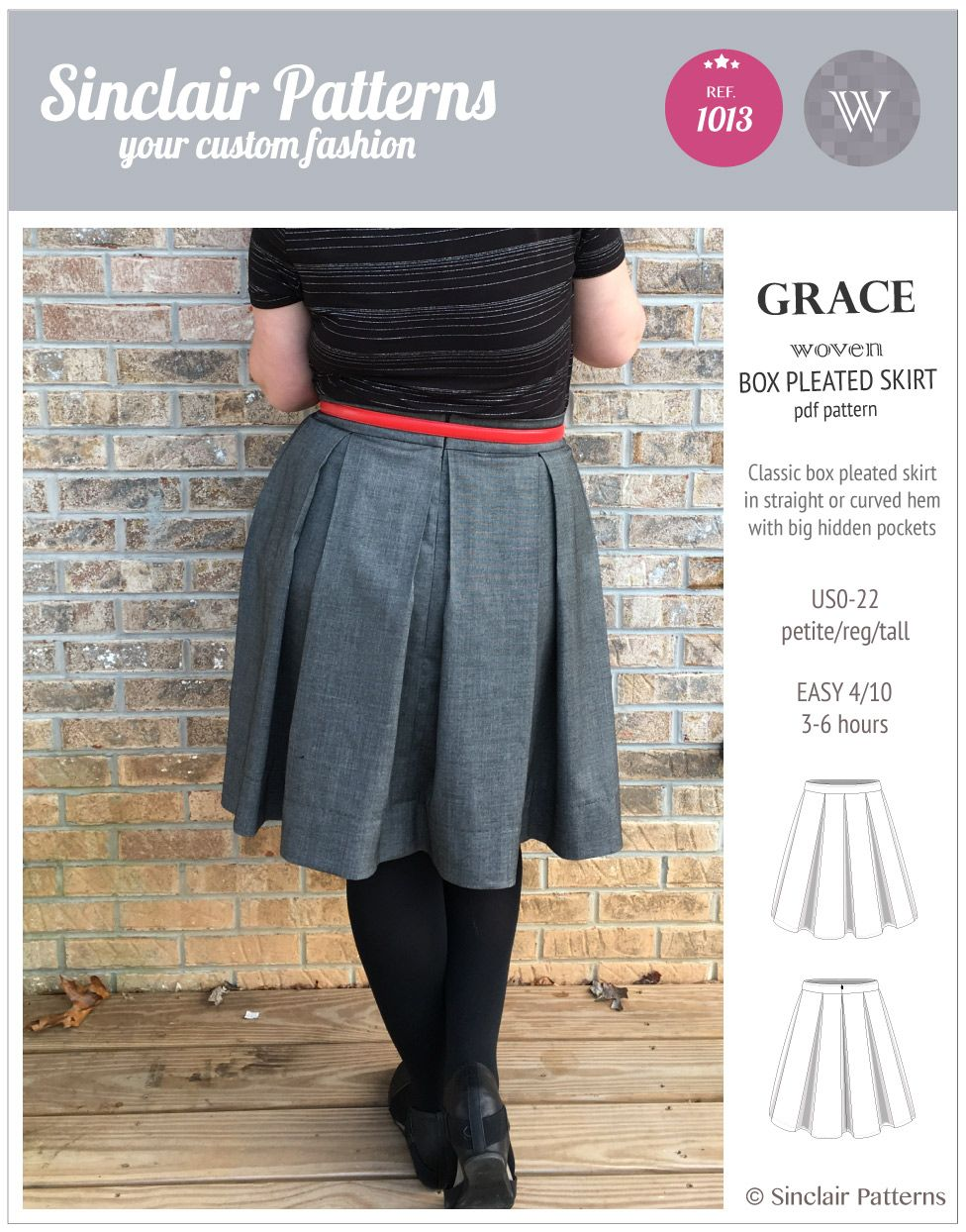 Pdf Sewing Patterns Sinclair Patterns Grace Box Pleated Lined Woven Skirt With Pockets Pdf Skirt Patterns Sewing Box Pleat Skirt Sewing Skirts