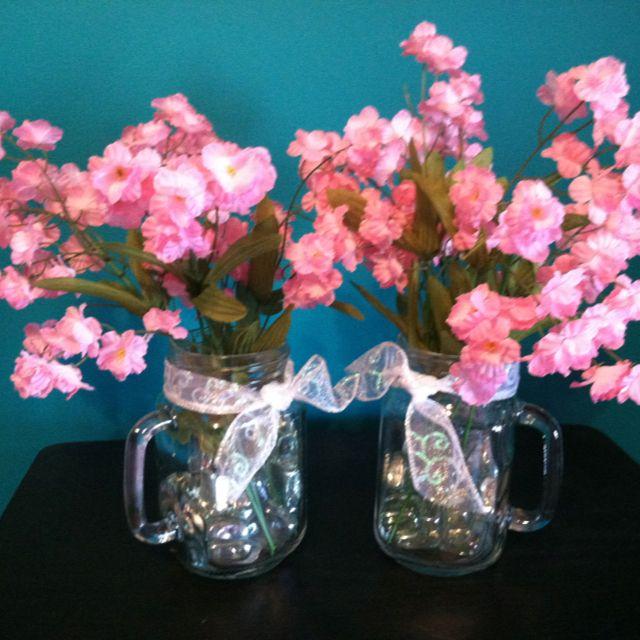 Mason Jars With Handles Ribbon Cubed Marbles And Fake Flowers Mason Jars With Handles Mason Jar Crafts Jar Crafts
