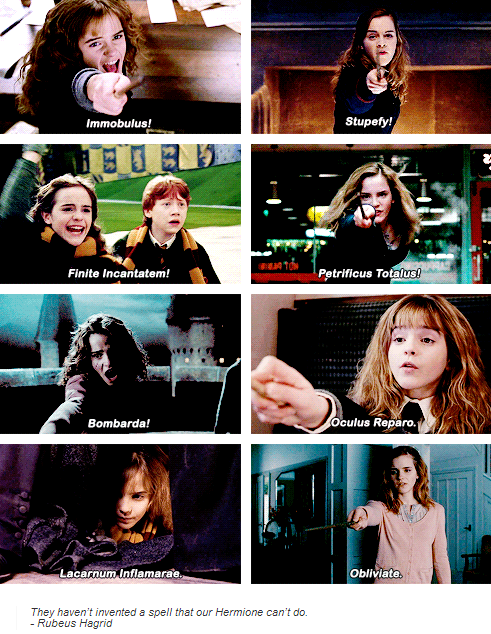 Hermione Granger Harry Potter I Read It In The Voices 1 Immobulus 2 Stupefy 3 Finite Incan Harry Potter Feels Harry Potter Spells Harry Potter Memes