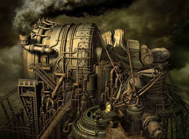 Steampunk factory artwork