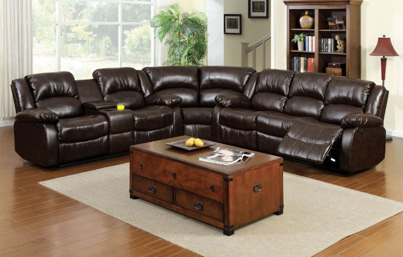 Cm6556 Sec 3 Pc Winslow Rustic Brown Bonded Leather Sectional Sofa Set With Recliners Rustic Sofa Rustic Leather Sofa Leather Sofa Set
