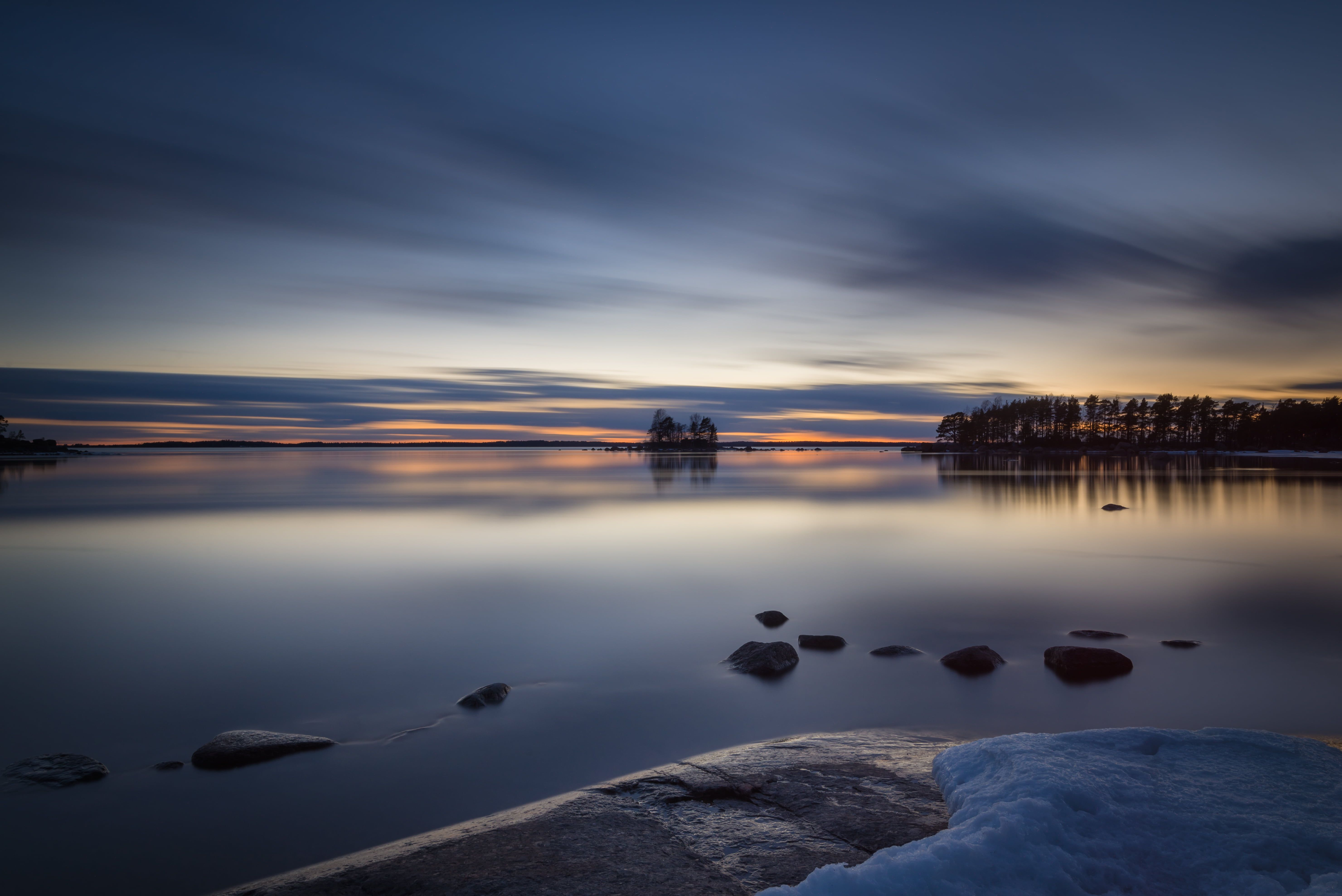 Calm Body Of Water During Sunset Serene Calm Body Of Water Sunset Kotka Finland Night Evening Le Long Expos Panoramic Photography Water Poster Serenity