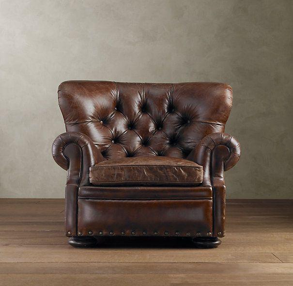 Churchill Leather Reading Chair - Restoration Hardware