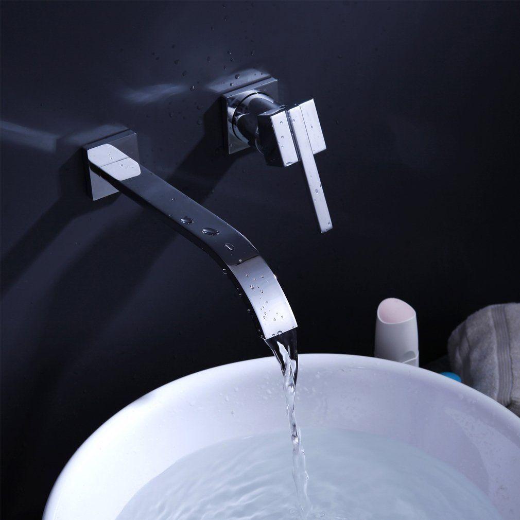 Auralum Elegant Wandhalterung Wasserhahn Verchromt Armatur Wand Wasserfall Fur Waschbecken Waschtisch Amazon De Waschbecken Waschbecken Gaste Wc Wasserhahn