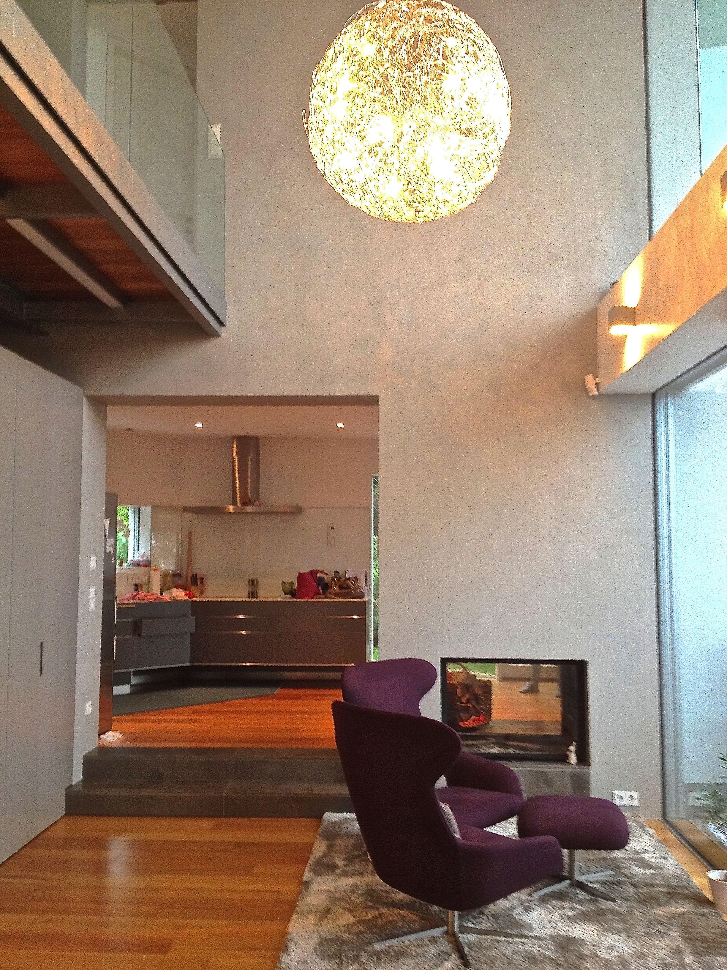 wand mit béton ciré original-beschichtung in einem sehr hellen, Wohnzimmer dekoo