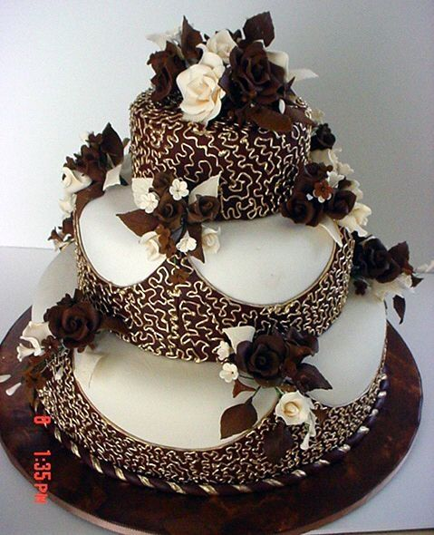Gold And Chocolate Wedding Cake Cakes A Pinterest Cake