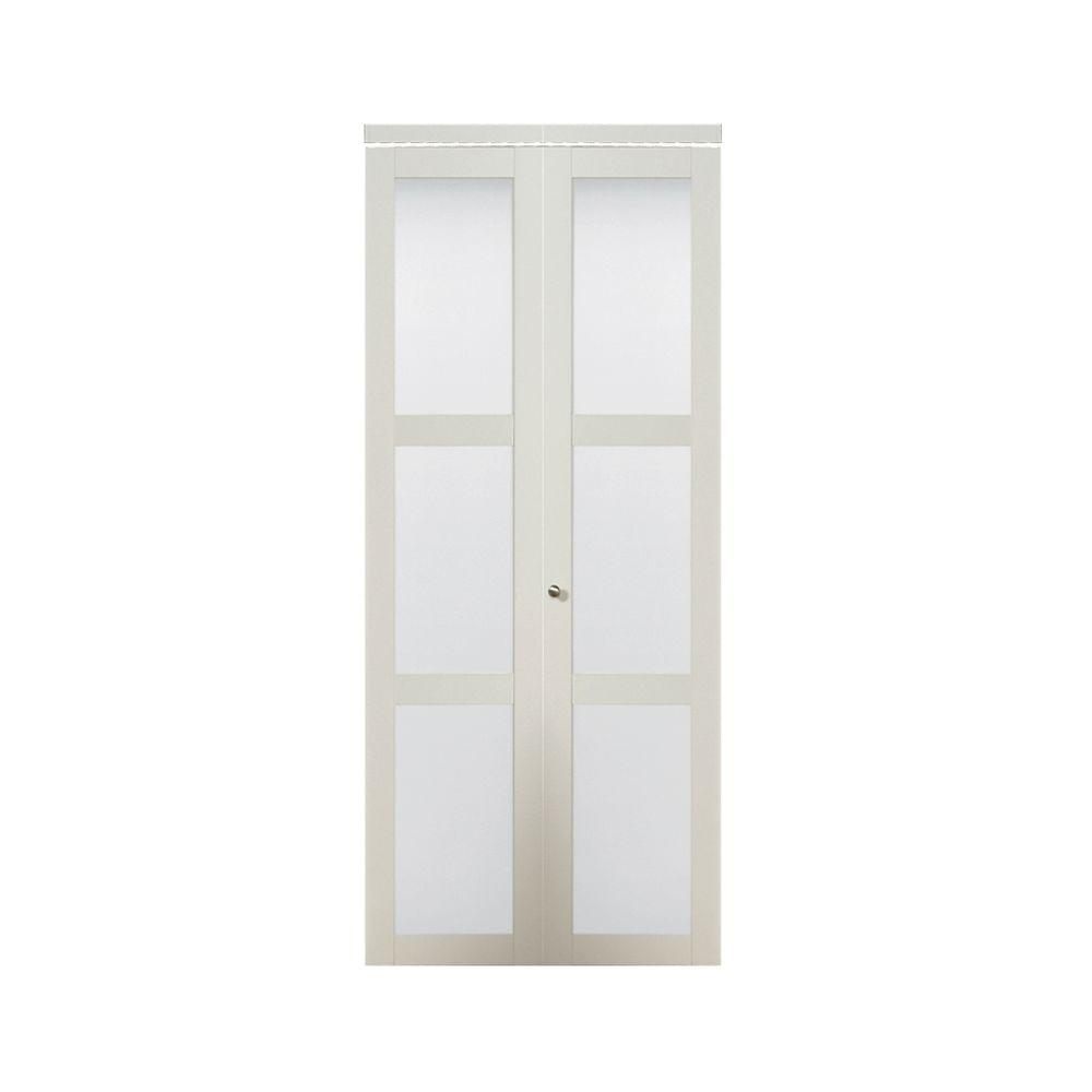 Truporte 30 In X 80 50 In 3080 Series 3 Lite Tempered Frosted Glass Off White Composite Interior Closet Bi Fold Door 247252 Glass Closet Doors Sliding Closet Doors Glass Pantry Door