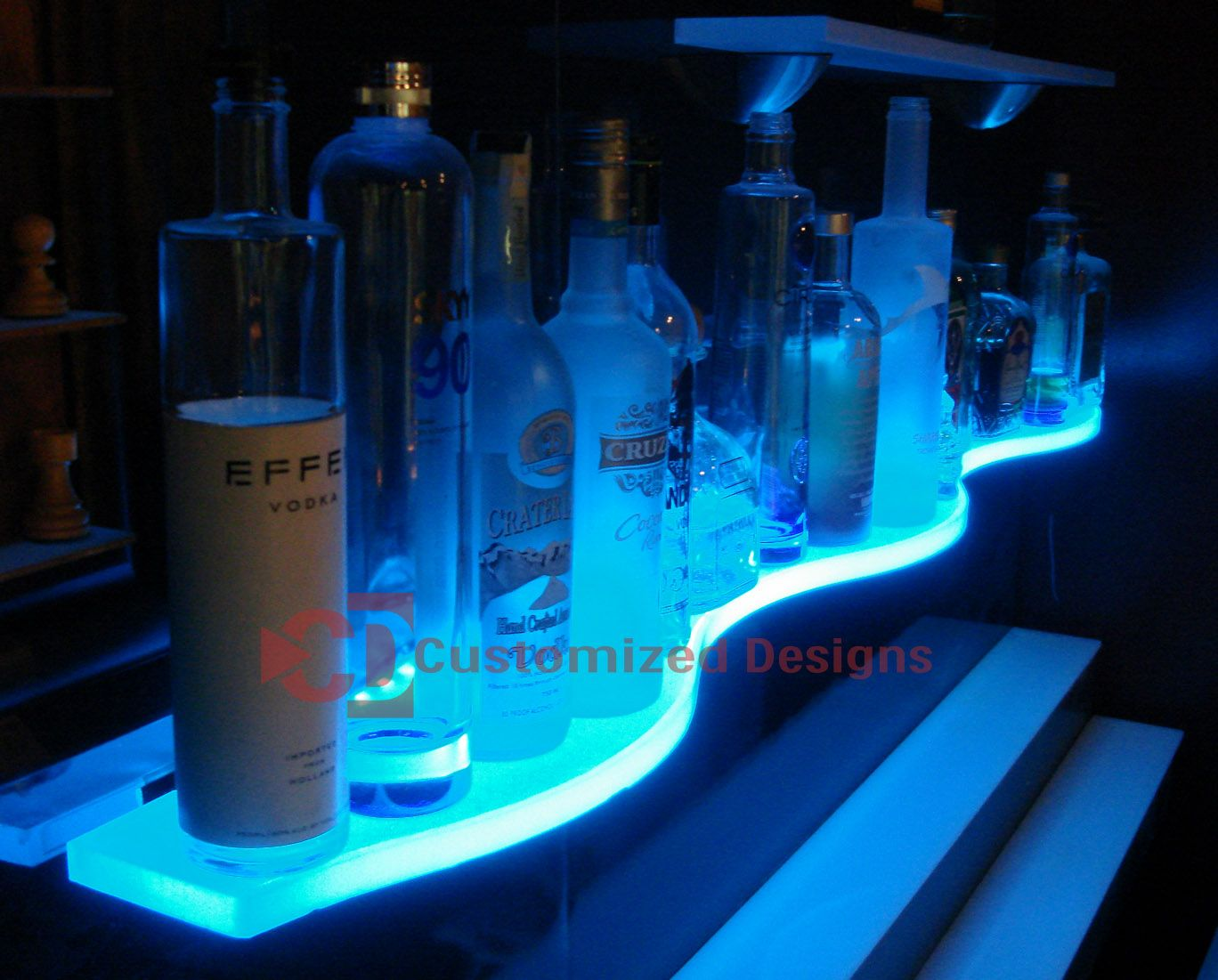 led glass bar shelves lighted floating shelves kbis. Black Bedroom Furniture Sets. Home Design Ideas