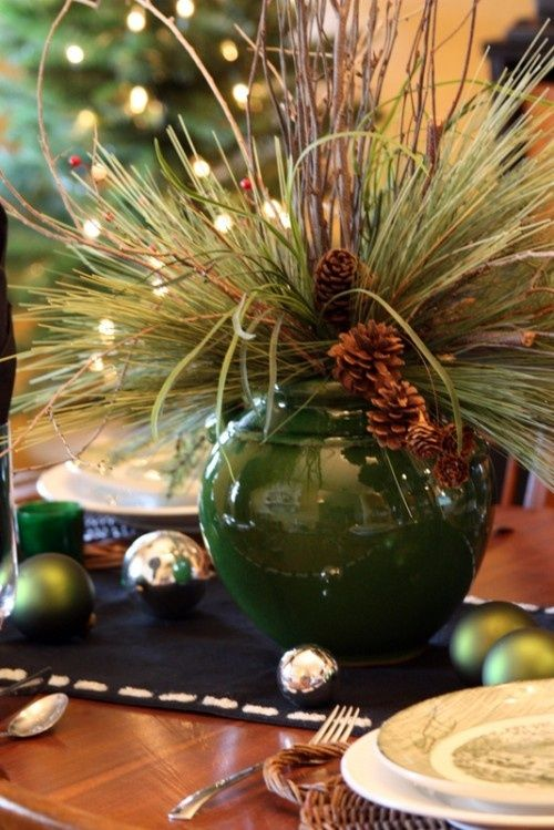 Greens and Pine cones in holiday flower centerpiece   All Things ...