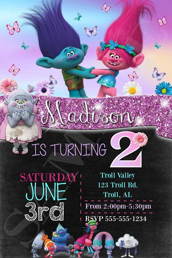 Trolls Girl\'s Glitter Sparkle Birthday Invitation   Birthdays ...