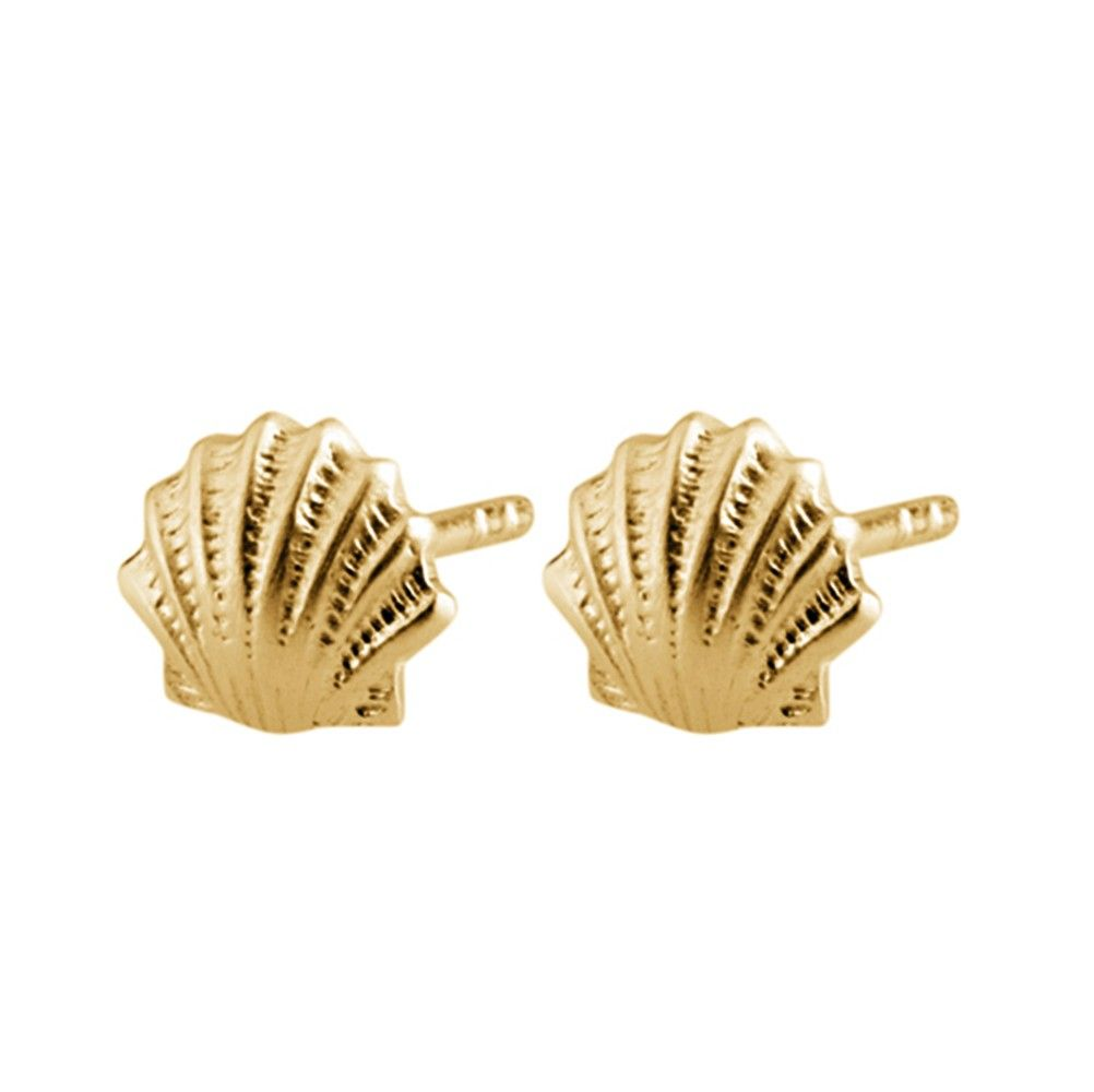 earrings smpokou seashell classic seastories products plate stud agapi gold rose