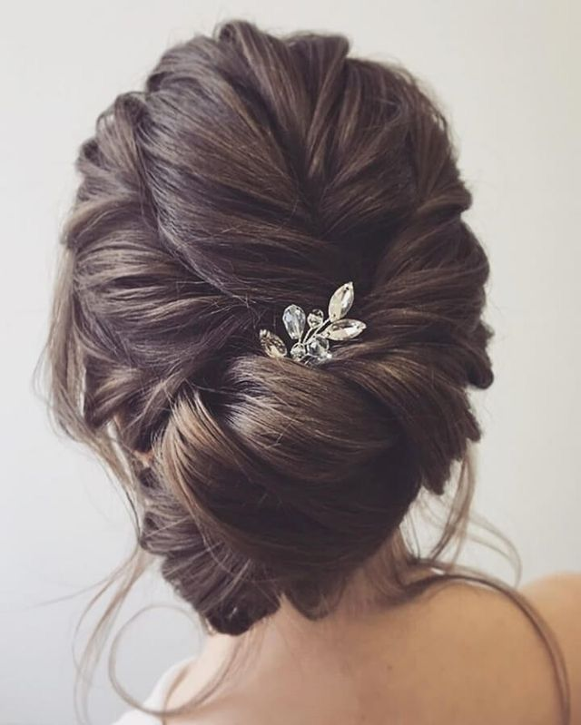 Updo Hairstyles For Wedding Guests: Romantic Pull Over Low French Twist #aveda