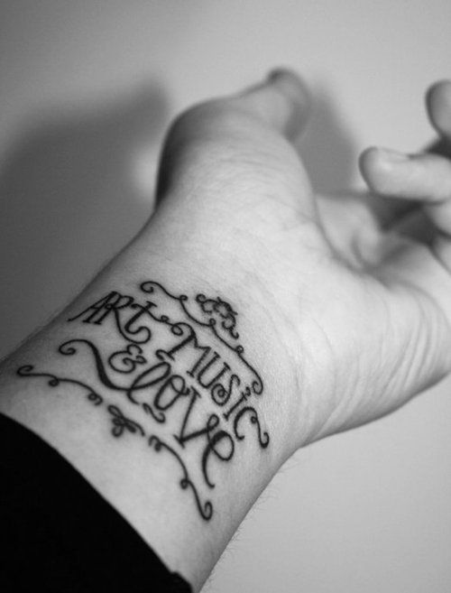 Art Music & Love's tattoo using Lady René font by Sudtipos.