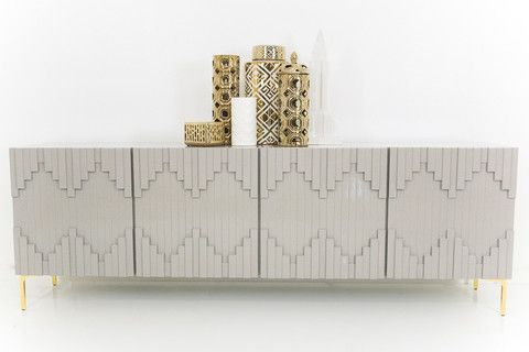 modshop manhattan 2545$ Mimicking the the city skyline with it's straight lines, the Manhattan Credenza is inspired by it's namesake. With hints of art deco in Greystone, and brass leg