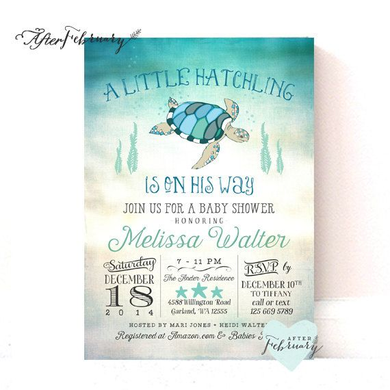 Sea Turtle Baby Shower Invitation Under The By Afterfebruary