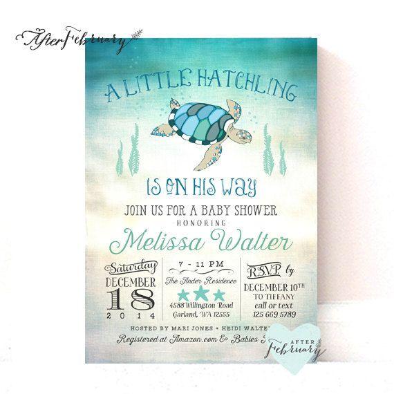 Sea Turtle Baby Shower Invitation Under The