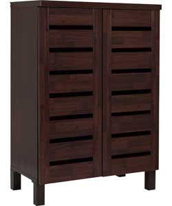 slatted 2 door shoe storage cabinet mahoganny effect. Black Bedroom Furniture Sets. Home Design Ideas