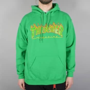 The Thrasher Flame Logo Hoodie in Rasta Green is made of cotton, polyester  and have the classic Thrasher Flame logo on the front.