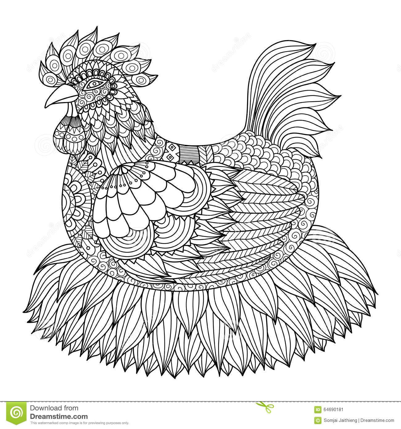 Hand Drawn Zentangle Chicken For Coloring Book For Adult Stock ...