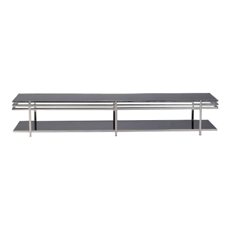 Mid Century Long And Low Black Glass And Chrome Coffee Table Mid