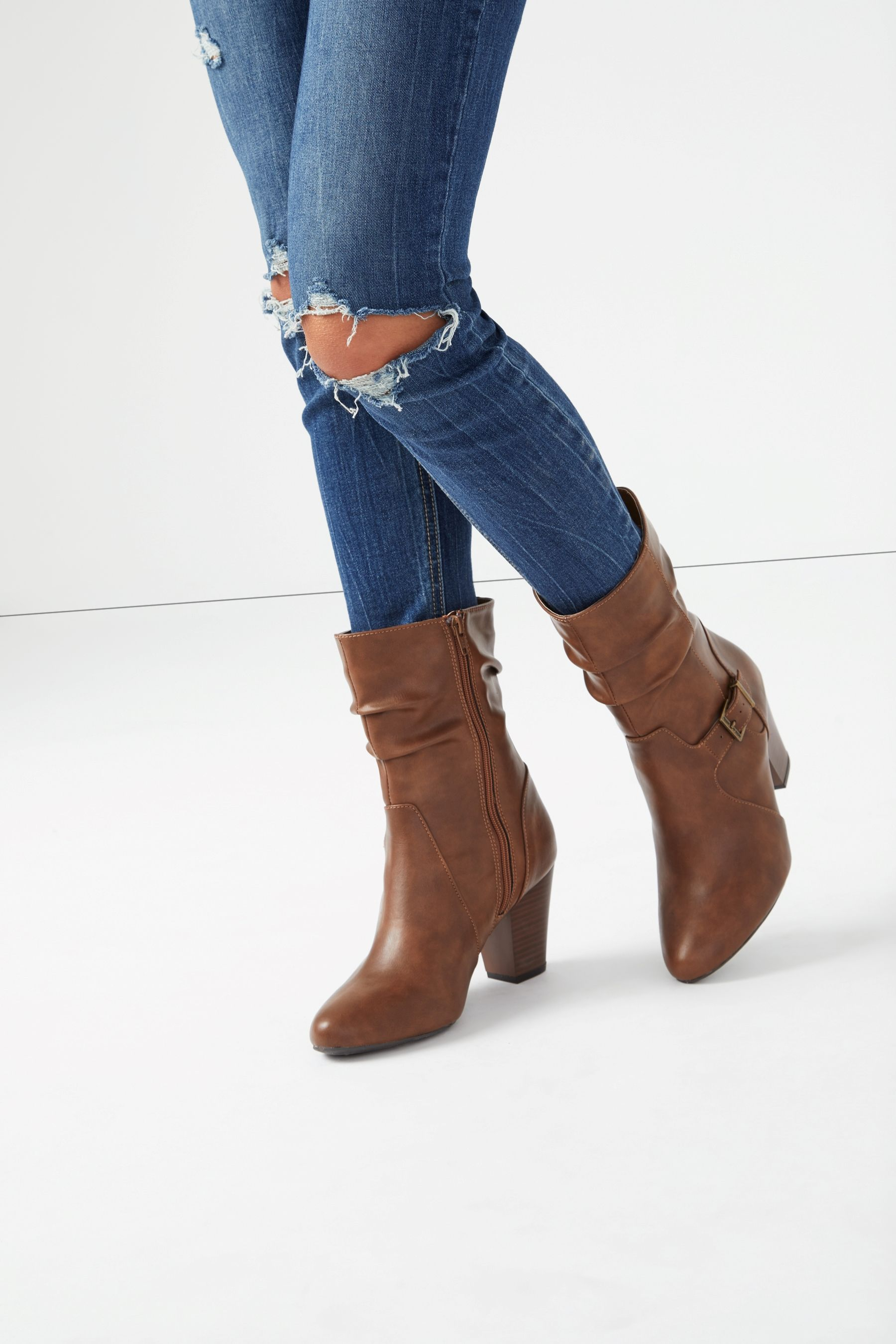Womens Head Over Heels Block Heel Mid Calf Boots Brown Mid Calf Boots Womens Mid Calf Boots Boots