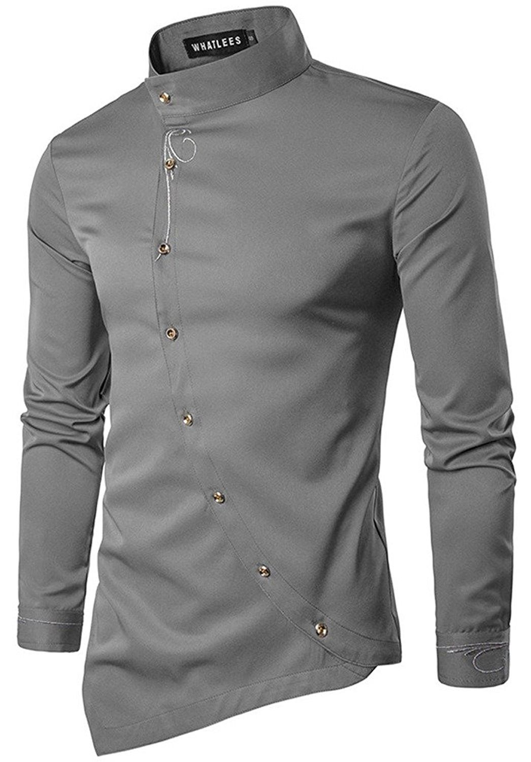 YYear Mens Stylish Stand Collar Long Sleeve Irregular Hem Casual Dress Work Shirt