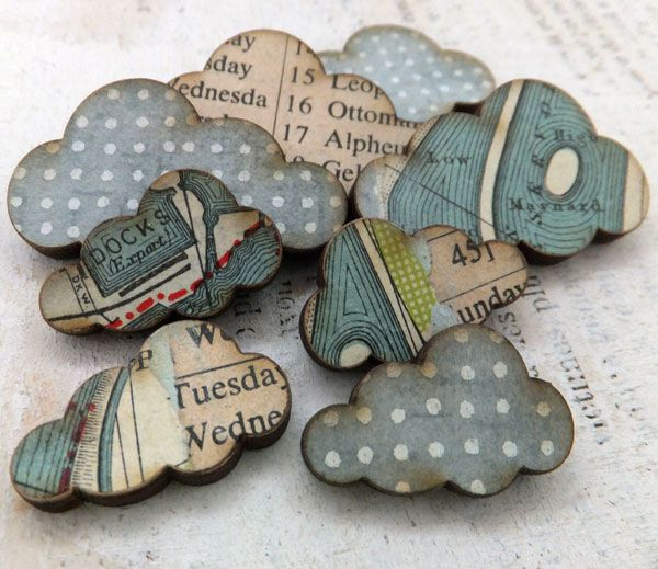 my handmade clouds - collaged with vintage maps and ephemera and cool papers (ARTchix Studio)