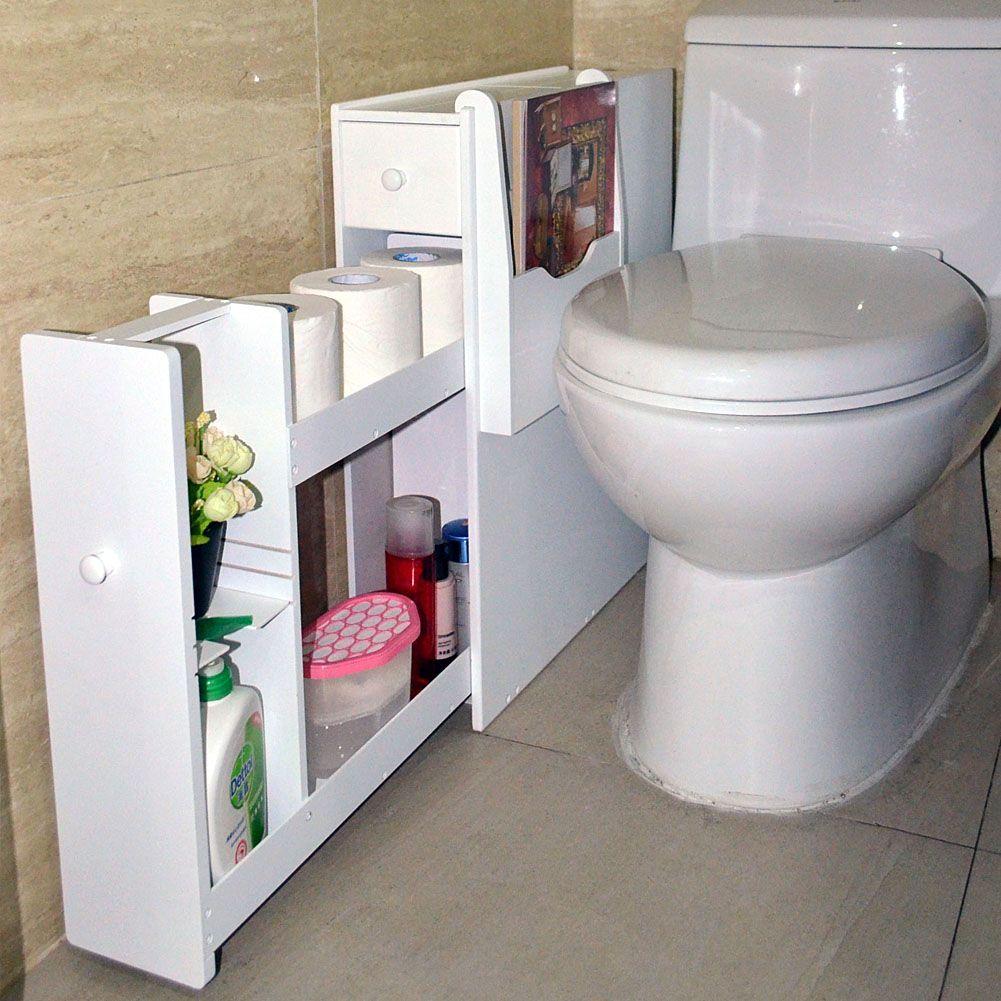Organizedlife Toilet Cabinet Bathroom Home Kitchen Living Room Storage Narrow Floor Organizer Shelf,Floor Storage Cabinet with Drawers Toilet Paper Holder - Walmart.com