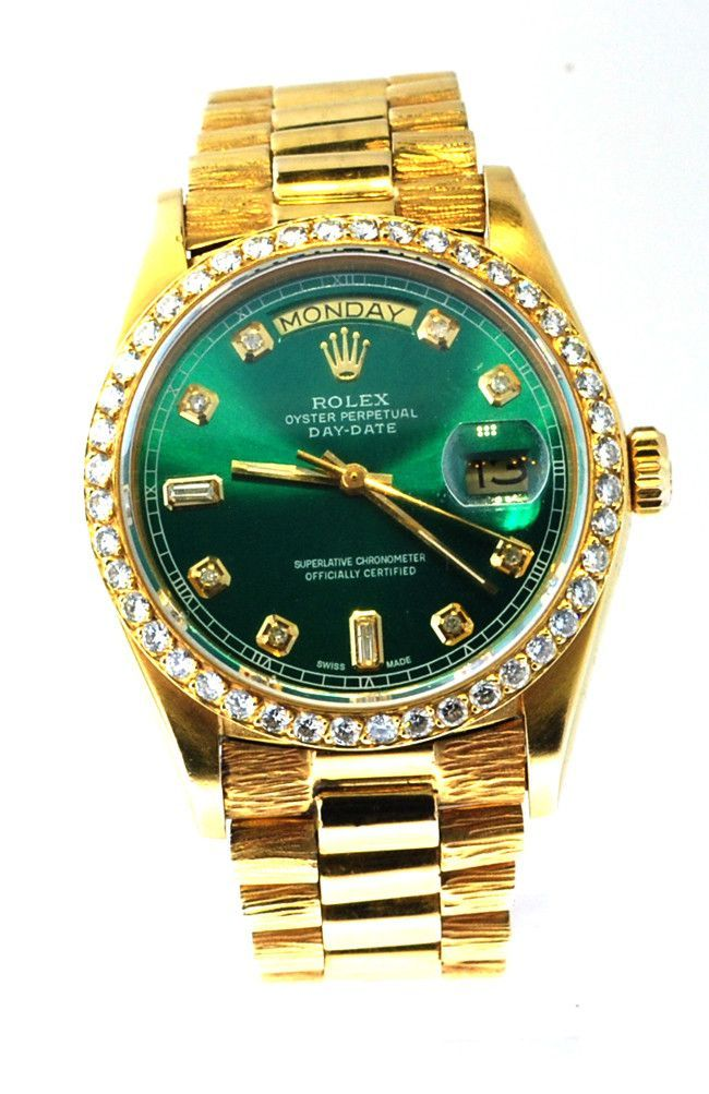 5e40ecbbbc2 Rolex Mens President Yellow Gold Green Diamond Dial   Bezel