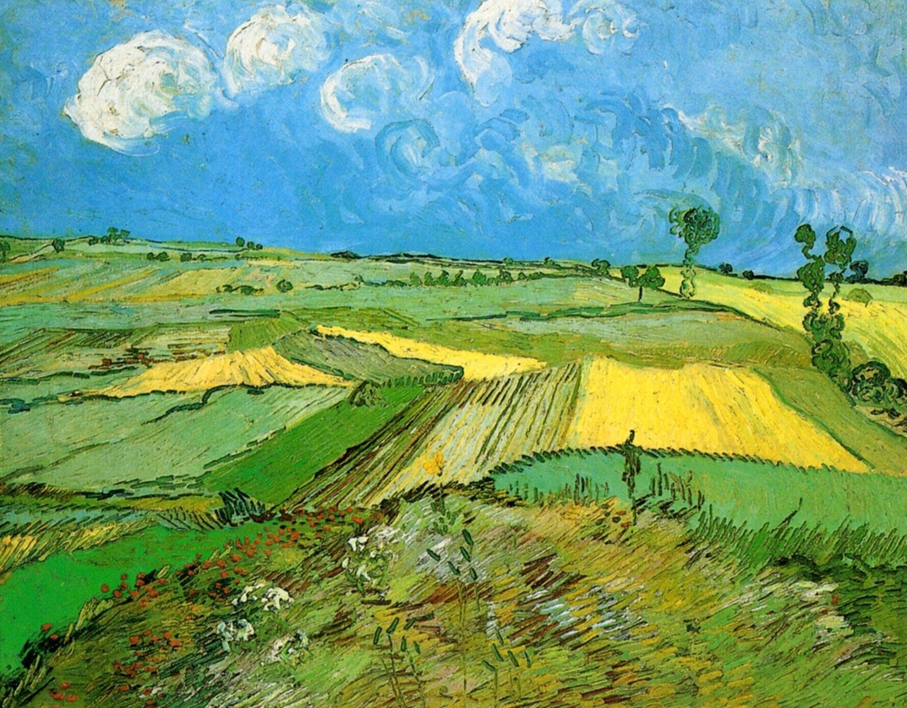 Wheat fields at auvers under clouded sky vincent van for Van gogh paintings locations