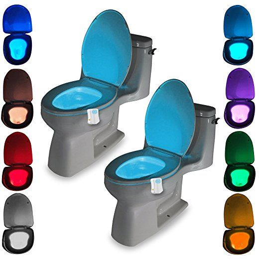 2 Pack Motion Activated Toilet Led Night Light Motion Sensor Toilet Nightlight Toilet Seat Light With 8 Changing Colors For Wa Bathroom Accessories Bathr