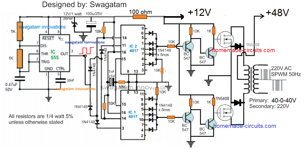 A Vey Basic Yet Reasonably Efficient 1500w Pwm Based Sinewwave Inverter Circuit Can Be Studied Under This Post T Circuit Projects Solar Power Inverter Circuit