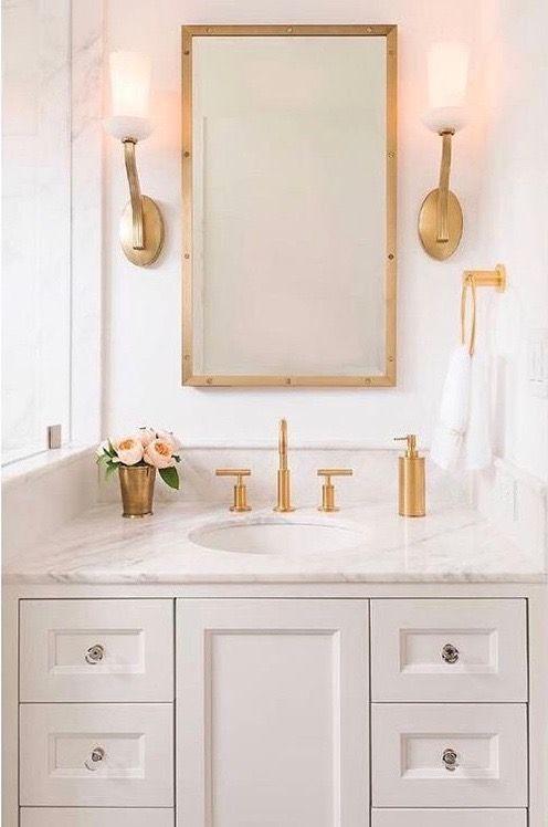 Like The Fixtures Half Bath Pinterest Bath Powder Room And - Gold faucets bathroom fixtures