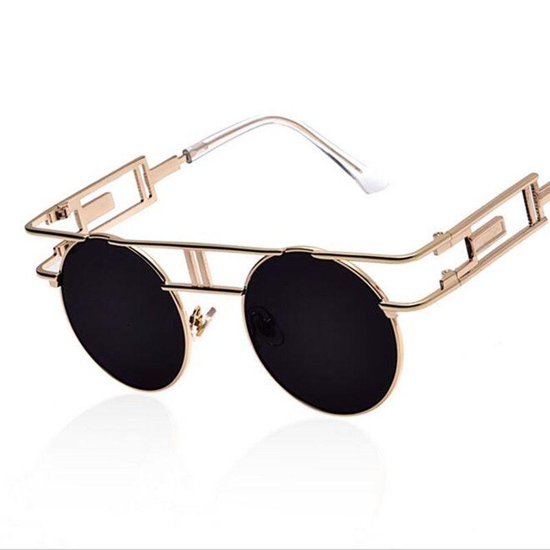Retro Round Steampunk Lunettes de soleil Metal Frame Femmes Hommes Gothic Vintage Sun glasses RlrszQ1m