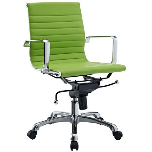 Eames Inspired Low Back Office Management Chair - Bright Green Vinyl