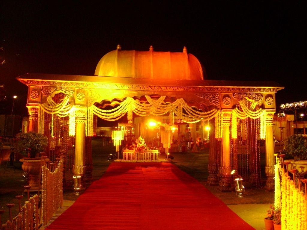 Wedding stage decoration delhi  Mandir Theme Decoration by Wedding Flower Decorator in Delhi NCR