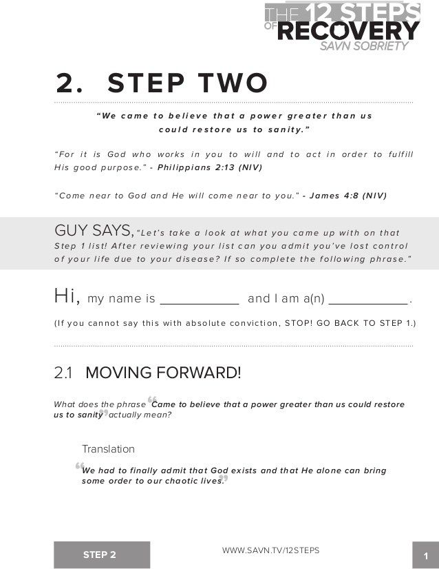12 Step Worksheets Step 1 Printables 12 Steps Of Aa