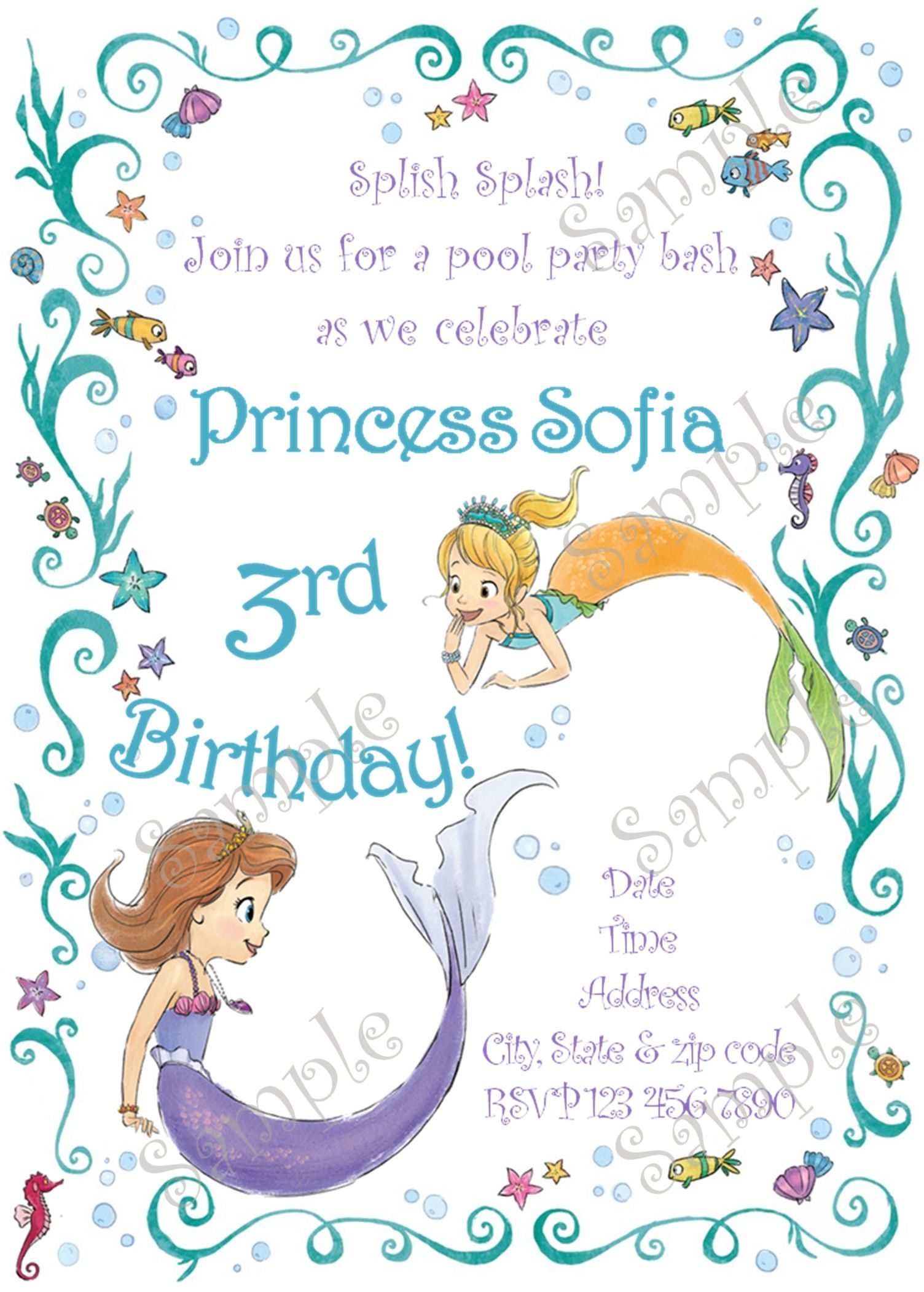 Sofia the first birthday party invitation Sofia the first pool