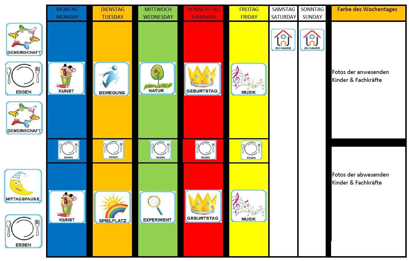 Bildergebnis für vorlage wochenplan kindergarten | Basteln Kita ...