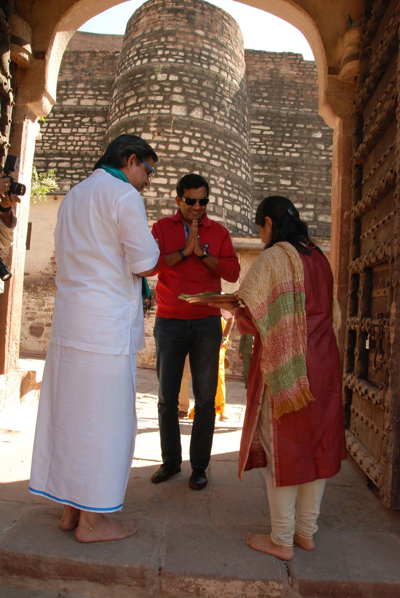At Mehramgarh Fort, received by Arun Budhiraj and his wife in Jodhpur, Rajasthan.