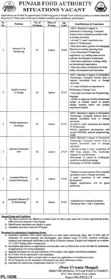 Punjab Food Authority Jobs 2017 In Lahore For Assistant Director And