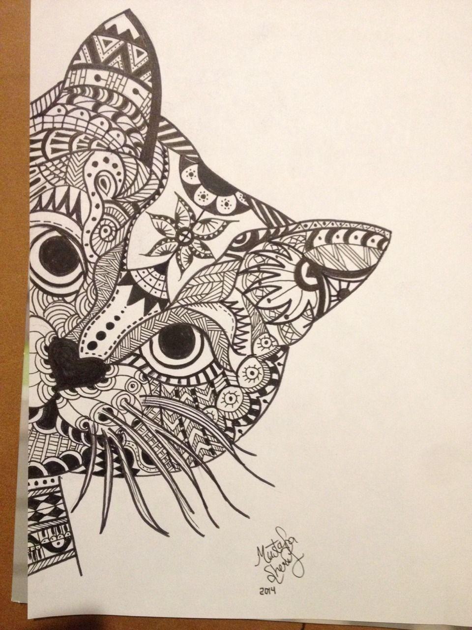 zentangle cat tumblr artwork pinterest drawings zentangle