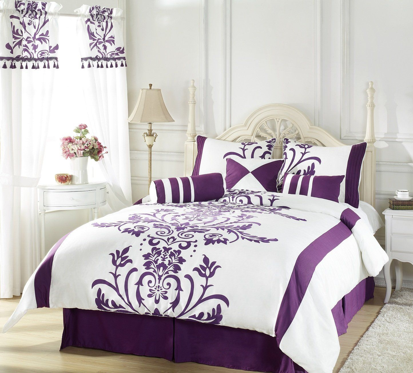 Chezmoi Collection 7 Piece White With Purple Floral Flocking Comforter 90  Inch By 92 Inch Set Bed In A Bag For Queen Size Bedding Machine Washable 9