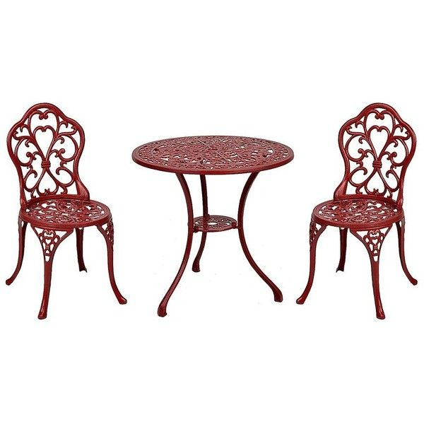 Red Fleur De Lis Cast Iron Bistro Set Of 3 180 Liked On