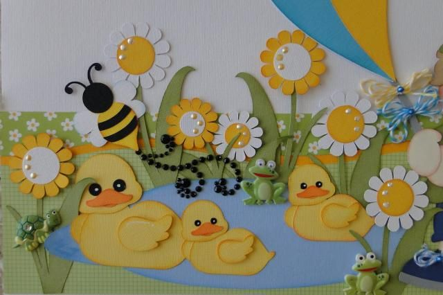 2 12x4 5 premade borders summer days boy girl paper for Duck pond mural
