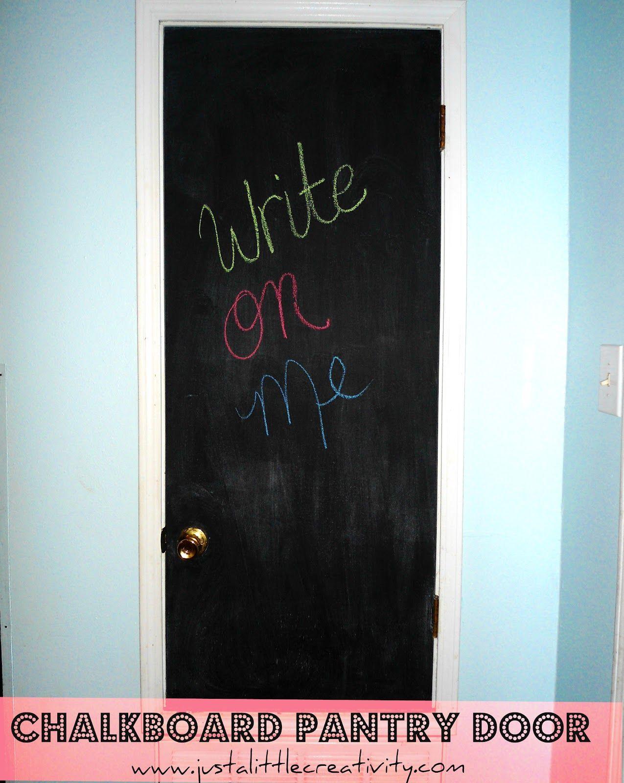 Chalkboard pantry door makeover painted pantry doors door